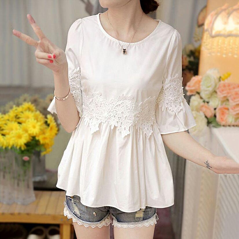 雪紡衫收腰蕾絲打底衫(白色M~2XL)【OREAD】 0