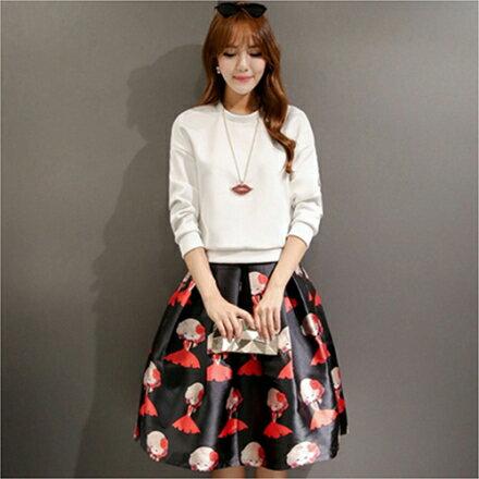 《 任選2件55折》*ORead* 韓版時尚白黑色T恤衫甜美半身裙(2色M~2XL) 0