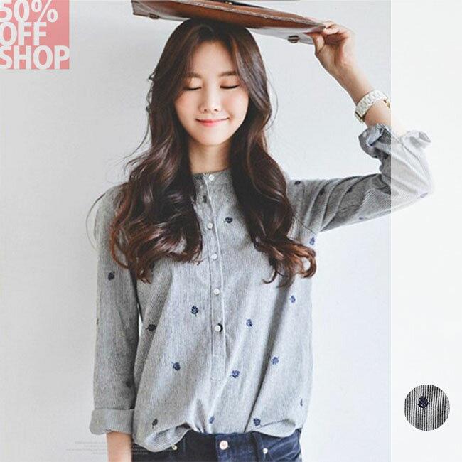 50%OFF SHOP韓版棉麻襯衣樹葉刺繡顯瘦長袖打底襯衫(1色)(S-XL)【G032316C】