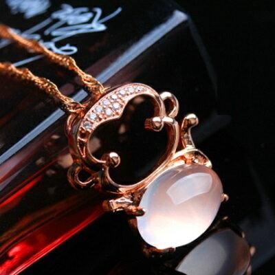 玫瑰金項鍊 純銀芙蓉石鑲鑽吊墜~ 精緻可愛猴子情人節生日 女飾品73fk25~ ~~米蘭