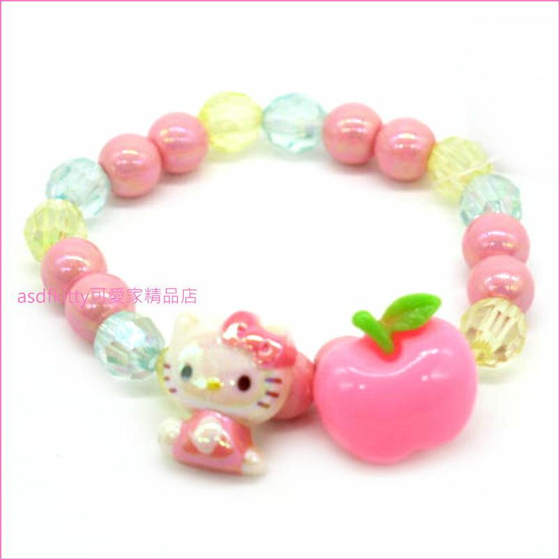 asdfkitty可愛家☆KITTY粉蘋果兒童彈性塑膠手環/手鍊-日本正版商品