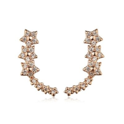 ~玫瑰金耳環925純銀鑲鑽耳飾~閃耀U型星星 情人節生日 女飾品2色73gs139~ ~~