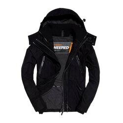 美國百分百【全新真品】Superdry 極度乾燥 Attacker 風衣 連帽 外套 防風 夾克 刷毛 黑色 M-XL號I753