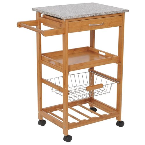 HomCom 31 in. Rolling Wooden Kitchen Trolley Cart with Wine Rack Granite Top
