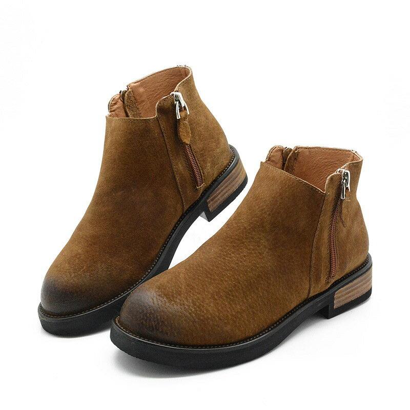 女靴 復古擦色圓頭 風百搭皮靴踝靴豬皮磨砂短筒靴真皮大頭靴木跟軍靴
