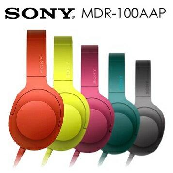 SONY MDR-100AAP 立體聲耳罩式耳機 可摺疊收納,支援線控麥克風 公司貨