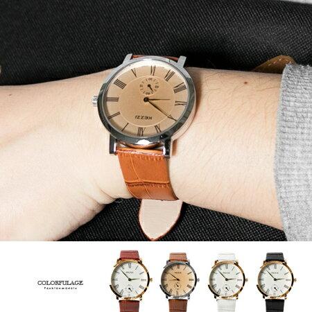 手錶 羅馬數字刻度獨立秒盤質感皮革錶帶腕錶 大小款對錶選擇 柒彩年代【NE1690】單支售價 0