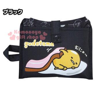 〔小禮堂〕蛋黃哥 折疊式環保購物袋《黑.側趴.培根被》可折小攜帶