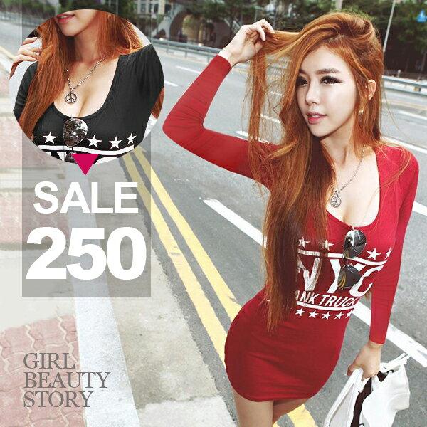 SISI~L6094~ 性感曲線大U領低胸爆乳英文字母印花修身顯瘦包臀連身裙洋裝上衣