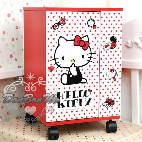 KITTY櫃子收纳櫃置物櫃制物架化妝櫃滾輪水玉紅飾品524425海渡