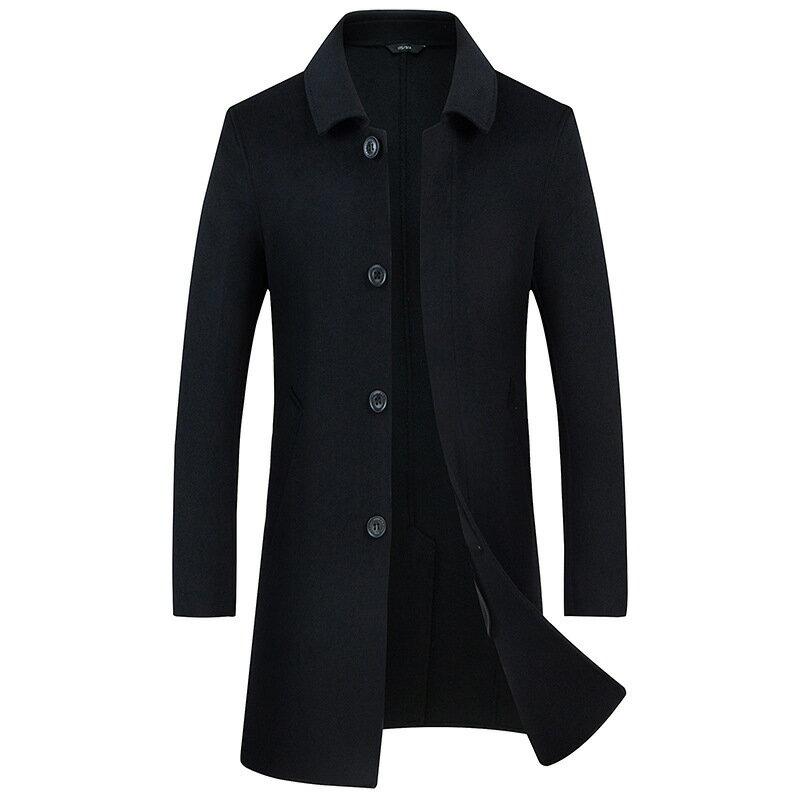 毛呢大衣中長版風衣-休閒修身翻領單排扣男外套2色73wk18【獨家進口】【米蘭精品】 2