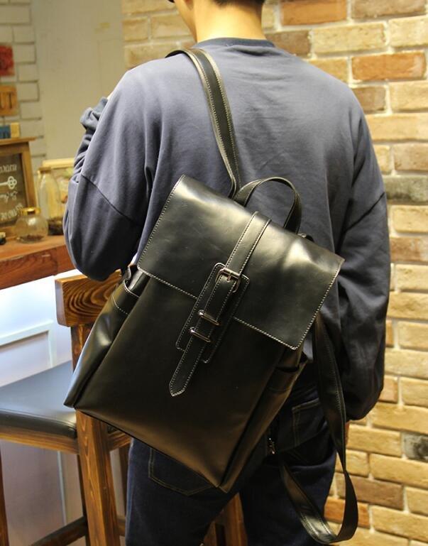 FINDSENSE Z1 韓國 時尚 潮 男 皮質 休閒 旅行包 電腦包 學生包 書包 後背包 雙肩包 戶外 旅行包
