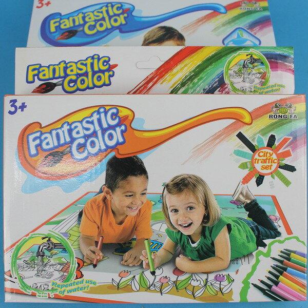 魔法水洗畫布 664-6 兒童塗鴉畫布(附可水洗彩色筆)/一盒入{促80}塗鴉毯 環保繪畫毯墊可重複使用~CF128017