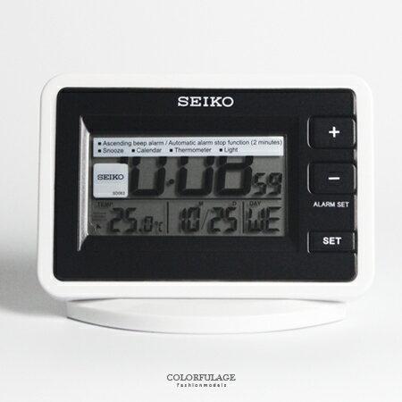 鬧鐘 精工SEIKO黑白長方LED液晶顯示桌鐘 漸進鬧鈴/燈光/貪睡多功能 柒彩年代【NV1711】原廠公司貨