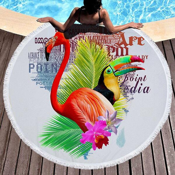 沙灘巾圖騰彩繪印花流蘇野餐巾海灘巾圓形沙灘巾150*150【YC007】BOBI0403