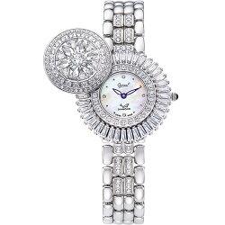 Ogival愛其華 花中花天然寶石珠寶錶 典雅玫瑰金 380-55DLR白寶石 32mm