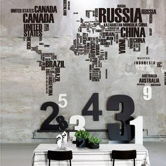 HOME+ 特大款 世界地圖 黑色英文字母 無痕設計壁貼 不傷牆面 現貨 展覽 活動布置 裝飾 北歐鄉村風 室內設計 快速出貨