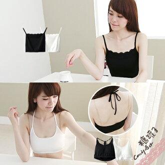 糖罐子綁繩罩杯細肩蕾絲小可愛背心→現貨+預購【E23277】