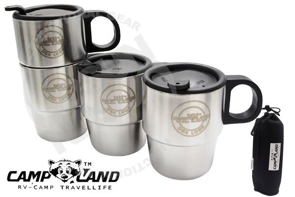 【速捷戶外露營】【CAMP-LAND】 RV-ST260生活家 不鏽鋼組合式雙層斷熱咖啡杯組.保溫杯