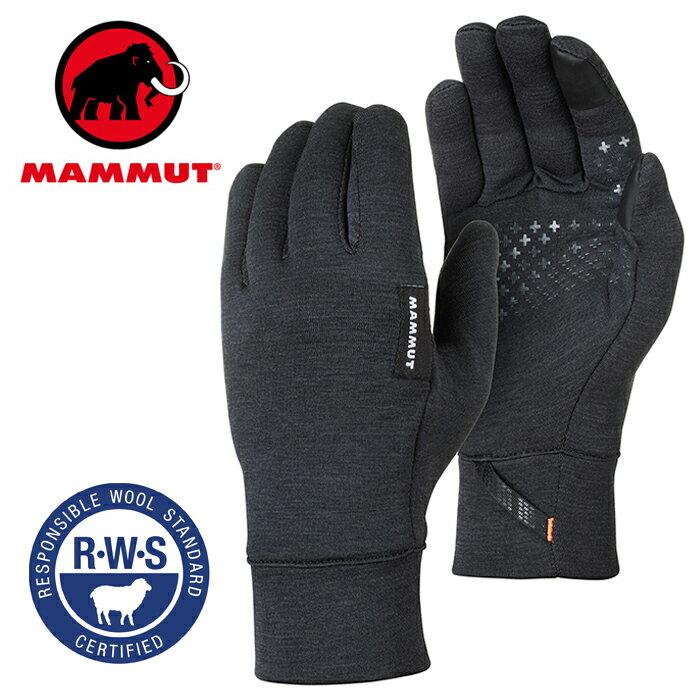 【Mammut 長毛象 瑞士】Wool 保暖手套 男款 黑色 (00300-0033)