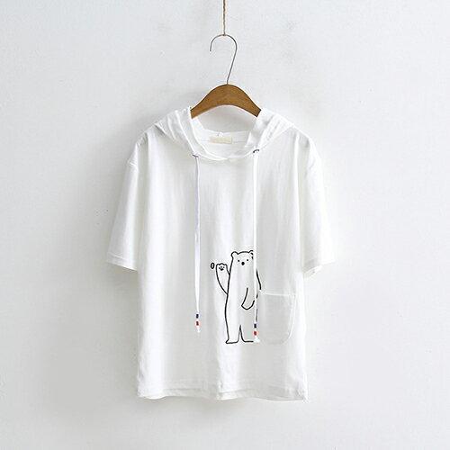*ORead*口袋小熊刺繡連帽寬鬆短袖T恤(3色F碼) 1