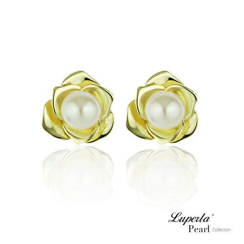大東山珠寶金色玫瑰純銀天然珍珠耳環