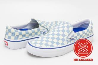 ☆Mr.Sneaker☆ VANS Slip-On PRO 滑板 懶人鞋 無鞋帶 棋盤格 粉藍 男款
