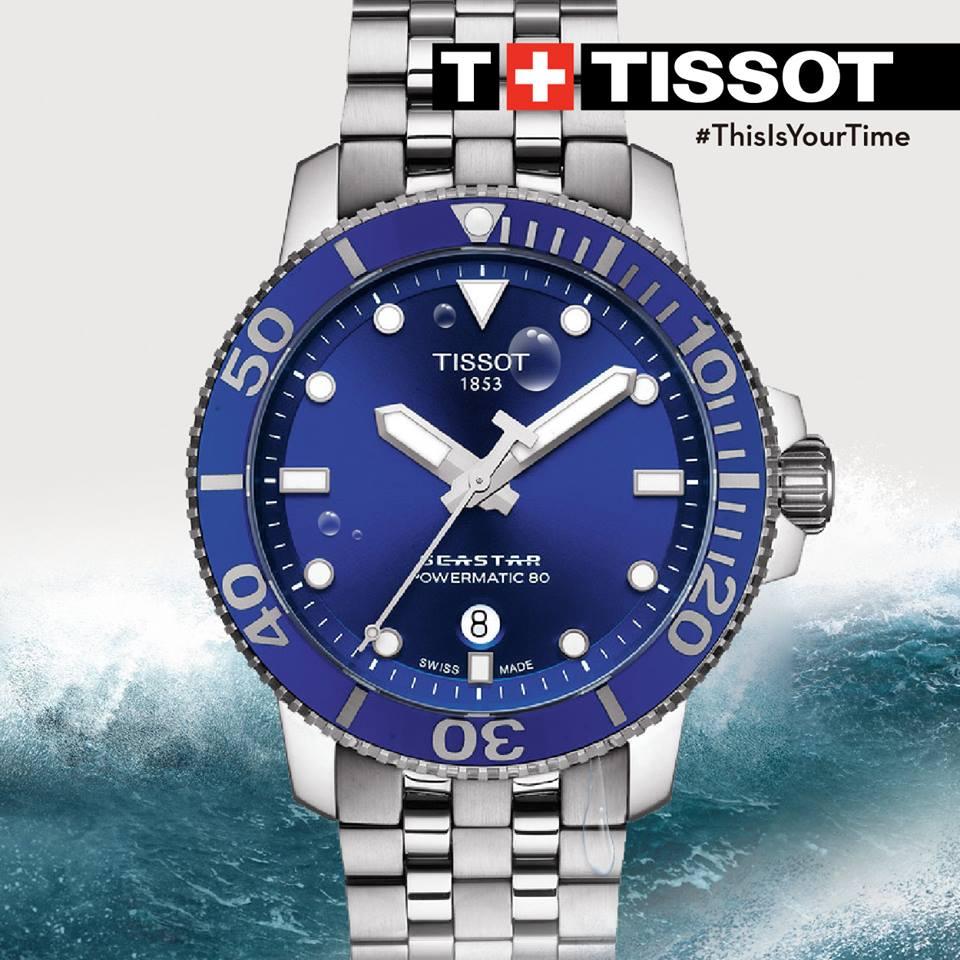 TISSOT 天梭 T1204071104100 Seastar 1000 海洋之星300米潛水機械錶 藍 43mm 6