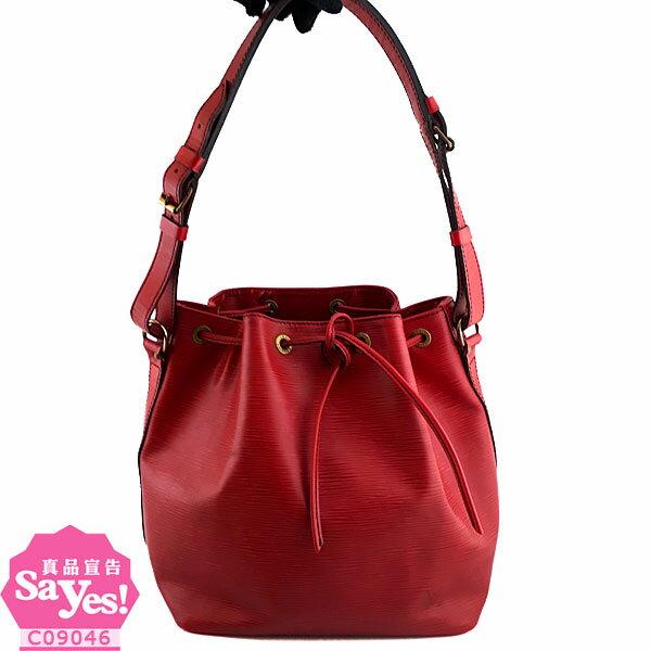 【奢華時尚】秒殺推薦!LV M44107紅色EPI麥穗壓紋牛皮肩背中水桶包(八成新)#21748