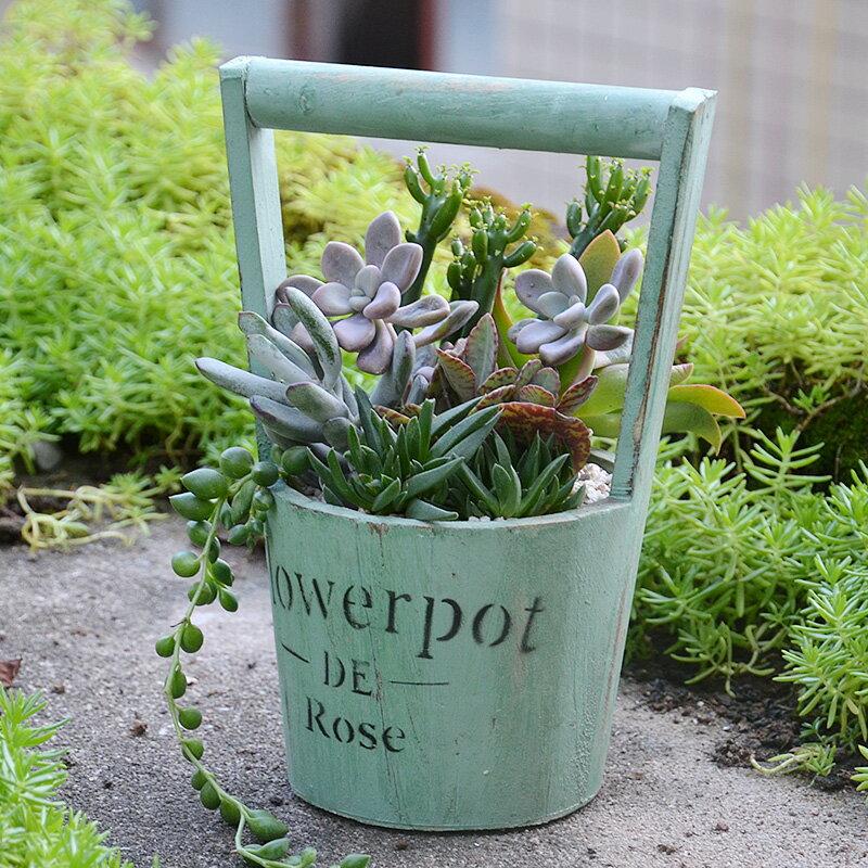 美式圓形木質帶提手多肉花盆復古做舊水桶綠植花盆插花籃花藝籃子1入