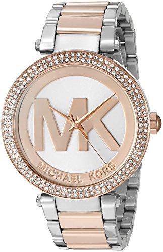 美國Outlet 正品代購 Michael Kors MK 時尚 logo 白面 玫瑰金框 鑲鑽 腕錶手錶 mk6314