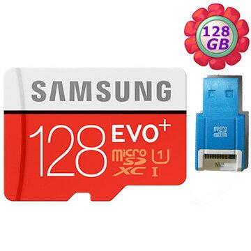 【R10藍讀卡機】Samsung 128GB 128G microSDXC【80MB/s】EVO Plus microSD micro SD SDXC UHS UHS-I U1 C10 原廠包裝 三星..