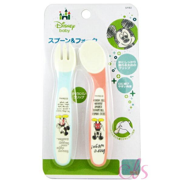 日本 SKATER 米奇 幼兒食物餐具叉匙套裝 ☆艾莉莎ELS☆