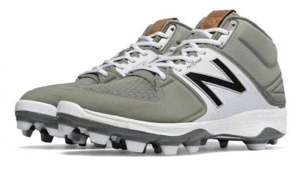 棒球世界全新美國進口NewBalance高筒紐巴倫膠鞋PM3000G3灰白特價2E寬楦