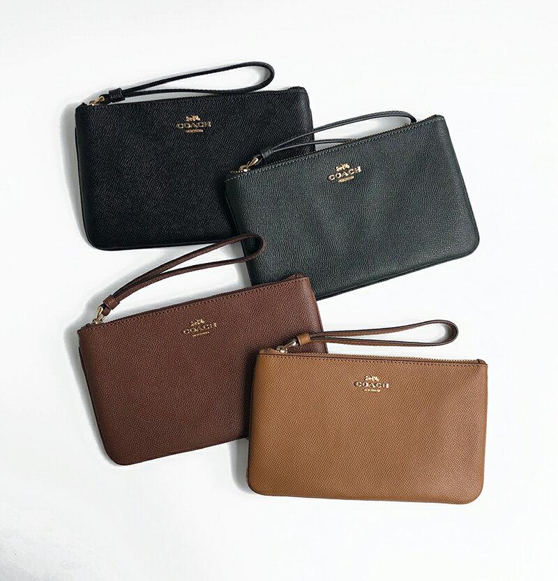 美國百分百【全新真品】COACH F57465 錢包 皮包 皮夾 零錢包 手拿包 證件卡夾 經典logo 多色 AA70