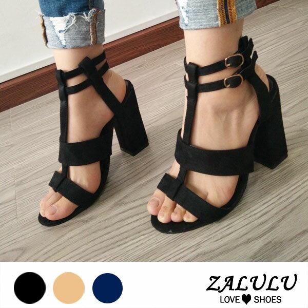 ZALULU愛鞋館ME270預購大碼絕對美型中跟簍空跟鞋涼鞋-黑藍米-35-42