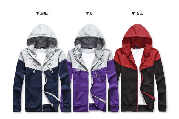 ☆BOY-2☆【OE0501-1】美式休閒配色刷毛連帽外套 2