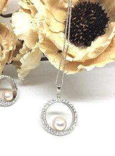 SUBROSE:【日本Akoya海水真珠】日本Akoya真珠Swarovski施華洛世奇水晶白18K金項鍊_あこや本真珠