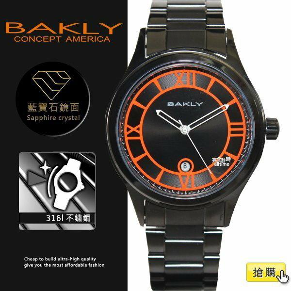 【完全計時】手錶館│BAKLY 美國意念 螢光夜跑系列 夜光BA3055系列 黑鋼 母親節 禮物 推薦女錶 亮橘 羅馬