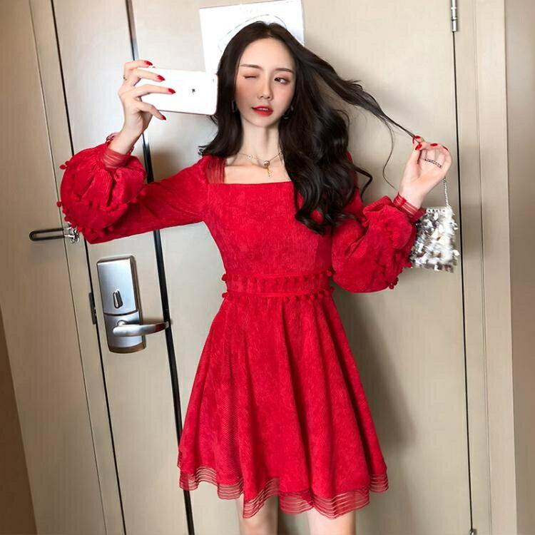晚禮服 紅色禮服連身裙女2020新款宴會平時可穿短款顯瘦敬酒服新娘小個子