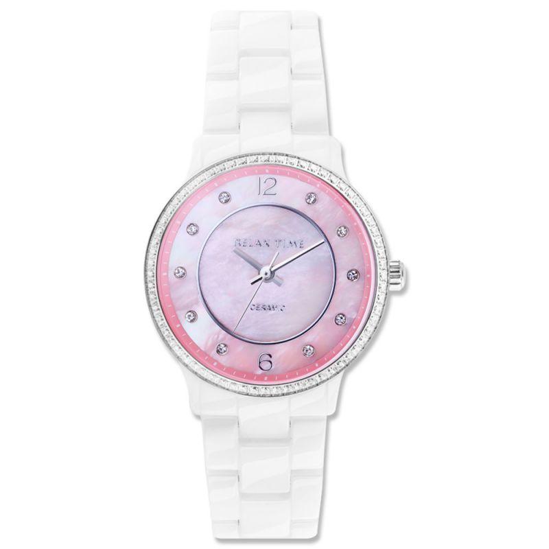 Relax Time  RT-55-13 RT系列迷你纖薄粉紅陶瓷腕錶/粉紅面30.5mm