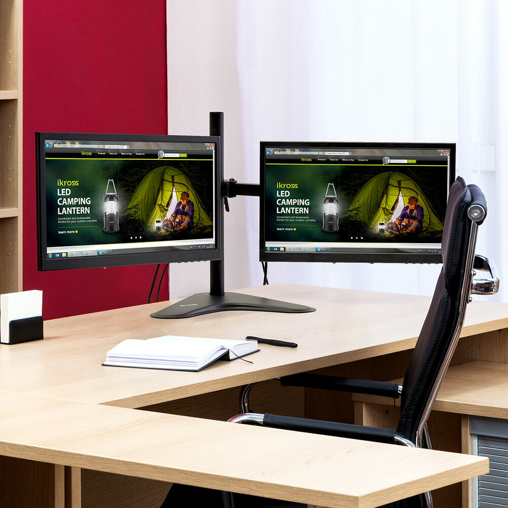 Ikross Dual Monitor Desk Mount Stand With Free Base Joint Arms