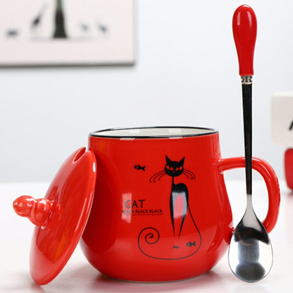 馬克杯子 陶瓷杯馬克杯子帶蓋勺可愛女早餐杯牛奶杯廣告杯logo定制咖啡水杯【全館82折】