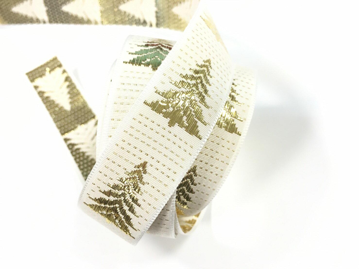 聖誕樹 緹花緞帶 20mm 3碼裝 (2色) 1