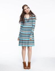 【JL JOCELIN】高腰橫條印花洋裝