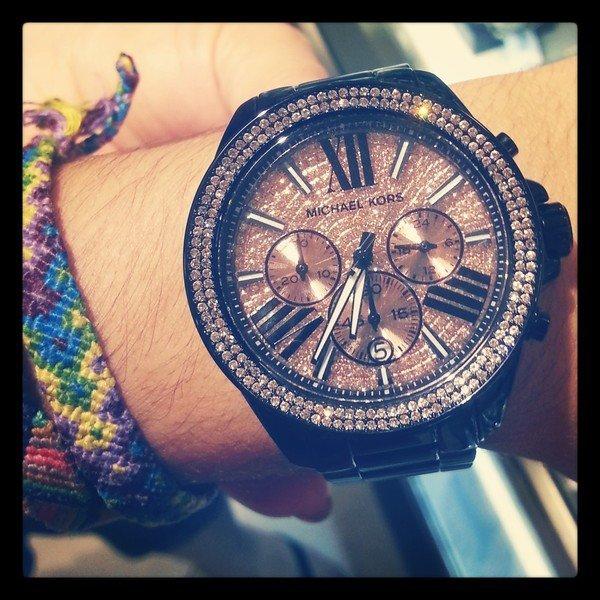 【MICHAEL KORS】正品 閃耀玫瑰金色羅馬滿天星三環黑色陶瓷手錶 MK5879 3