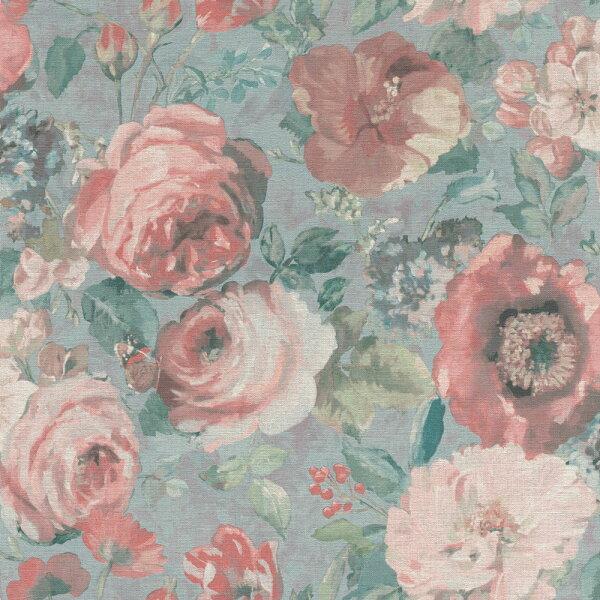 玫瑰花紋復古風格粉色rasch(德國壁紙)2019527858