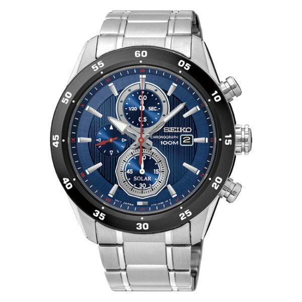 SeikocriteriaV176-0AR0B(SSC533P1)極致競速太陽能計時腕錶藍面43mm