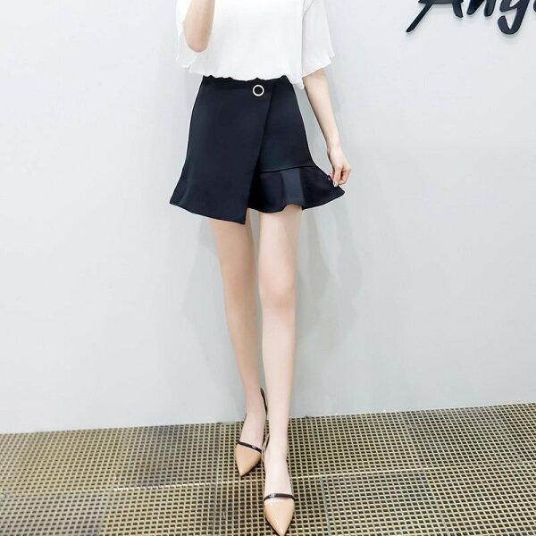 FINDSENSE G5 韓國時尚 實拍 不規則 魚尾 短裙 純色 黑色 藍色 女裙
