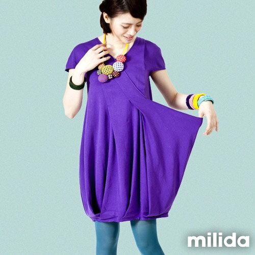 【Milida,全店七折免運】V領俏皮花苞剪裁洋裝 0